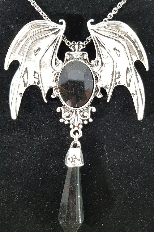 Batwing Necklace Black Cabuchon