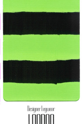 Striped Tights Black & Flo Green