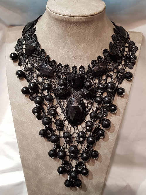Lace V Shape Necklace With Big Beads And Black Stones