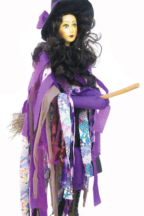 Pendle Witch Crystal Flying 65cm Purple