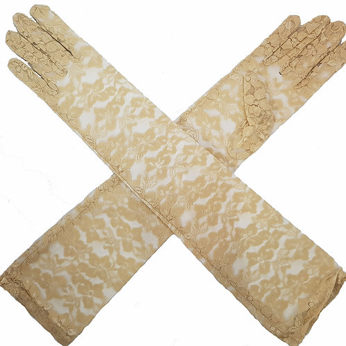 Long Lace Gloves Cream
