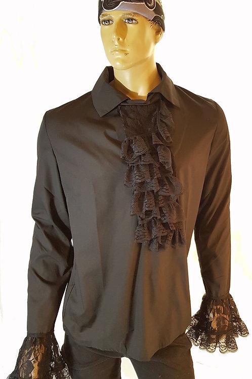 Oswald Lace Frill Shirt Black