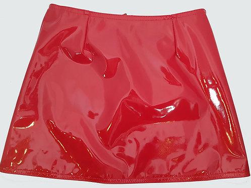 PVC Hipster Mini Skirt Red