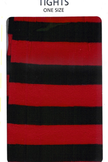 Striped Tights Black & Flo Red