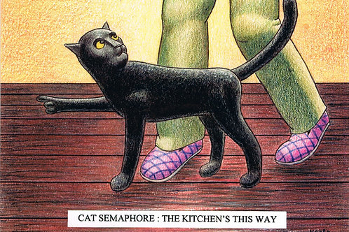 Devil Cat Greeting Card...Semaphore