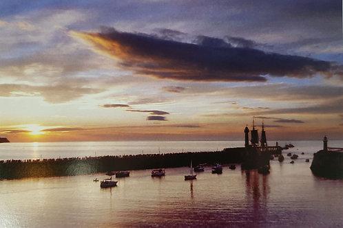 WhitbyHarbour Sunrise Card
