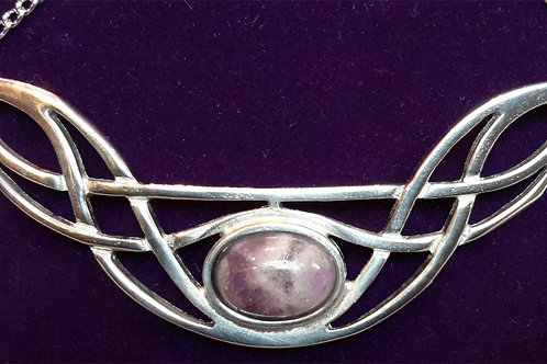 St Justin Bow Necklace With Amethyst