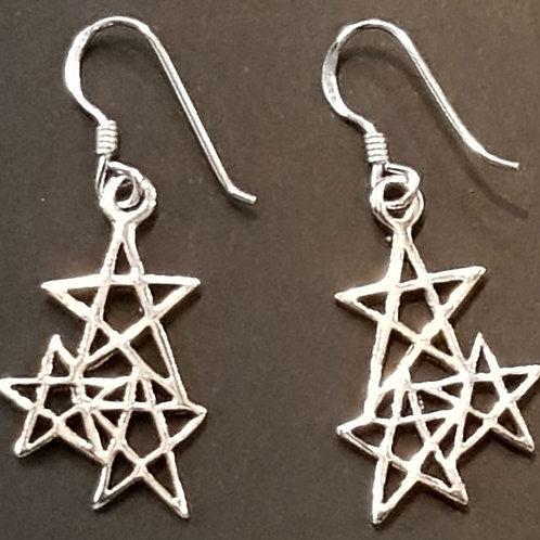 3 Pentagrams Earrings