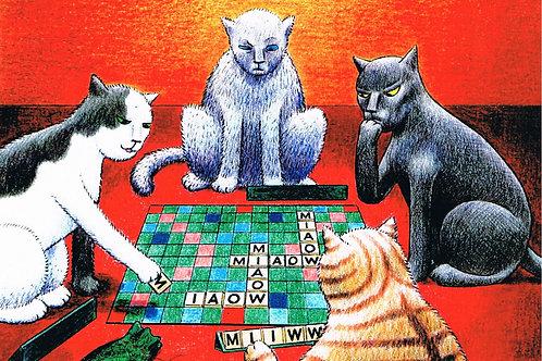 Devil Cat Greeting Card...Scrabble