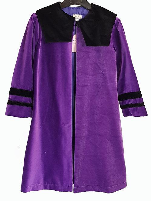 Childs Cape/Coat Purple Velvet With Black Velvet Trim And Bands