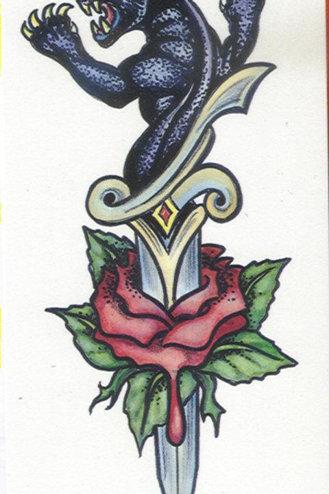 Panther Dagger Rose Armband Tattoo
