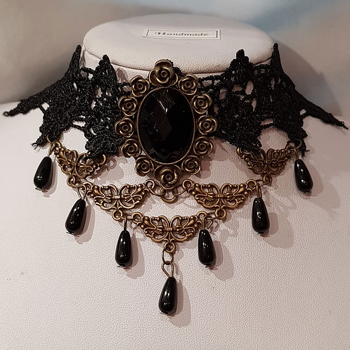 Lace Choker With Brass Rose,7 Droplets And Black Stone