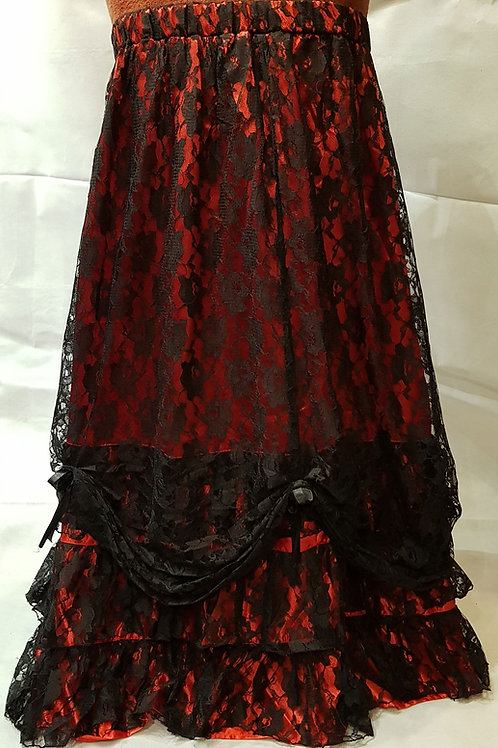 Long Red Skirt With Overlay Lace