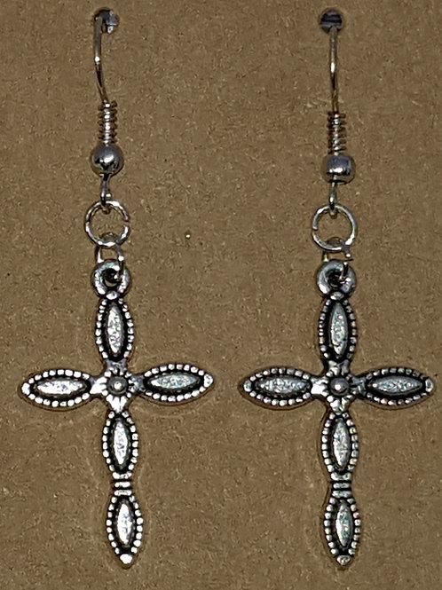 Bubble Cross Drop Earrings