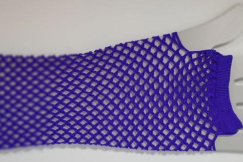 Fishnet Fingerless Gloves Long Purple