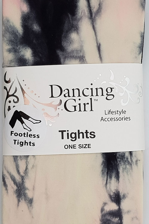 Dancing Girl Black,White,Pink Tie Dye Tights