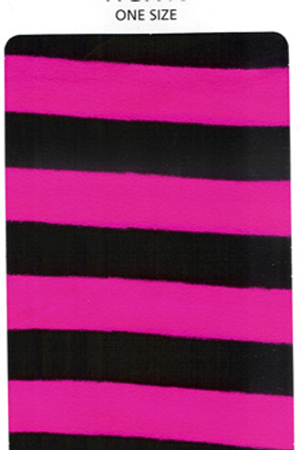 Striped Tights Black & Flo Pink
