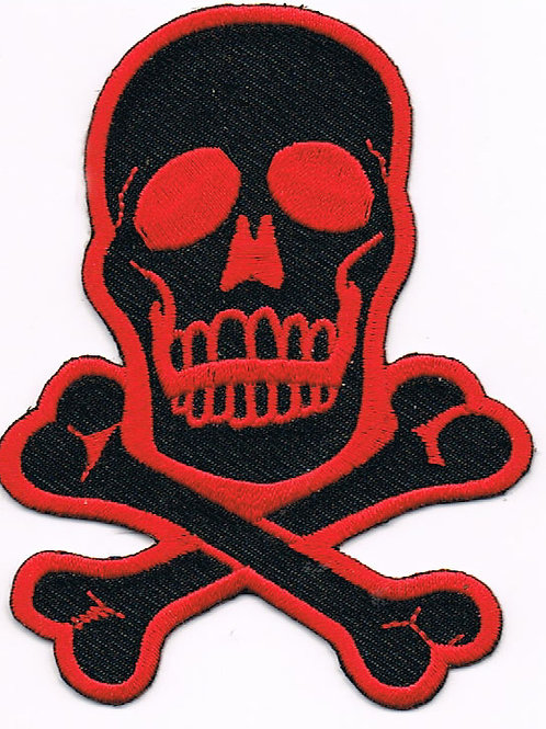 Red & Black Skull X-Bones Patch