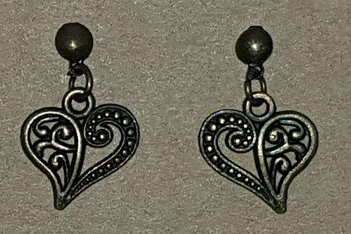 Leaf Heart Drop Earrings