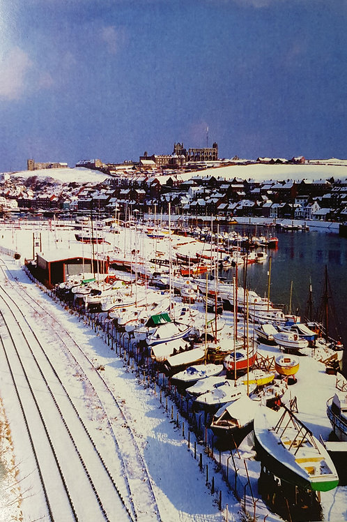 Whitby  Boats in Snow Card