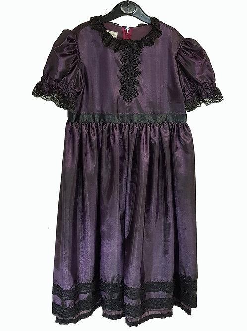 Childs Dress Satin Aubergine