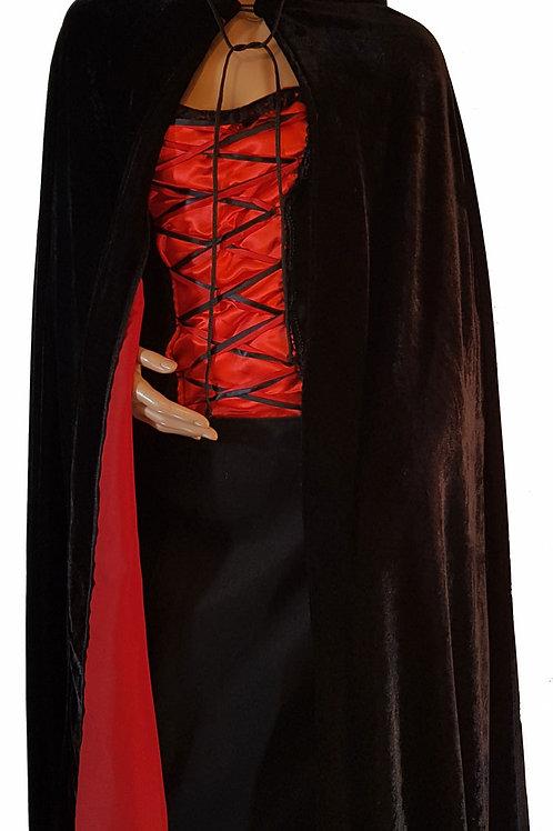 Velvet Cape Black With Red Lining