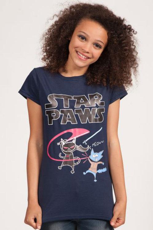 Star Paws Ladies Tee Navy (Large)