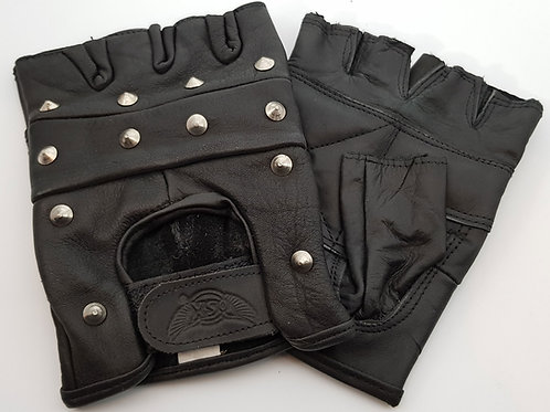 Studded Leather Fingerless Gloves M