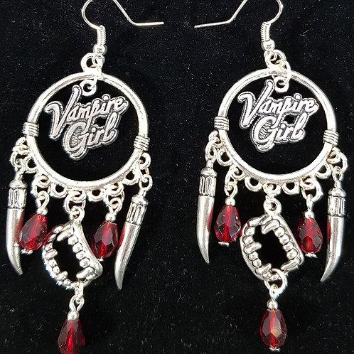 Vampire Girl Earrings With Red Beads