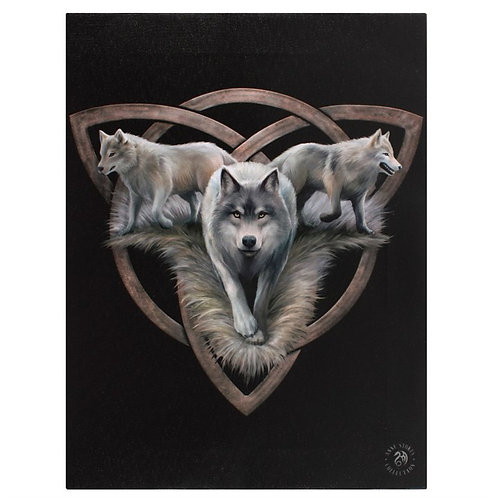 Anne Stokes Wall Plaque Wolf Trio