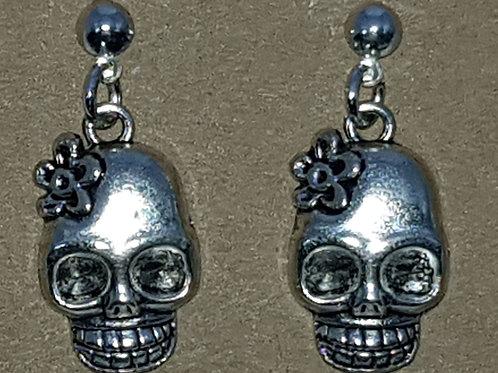 Skull Flower Drop Earrings