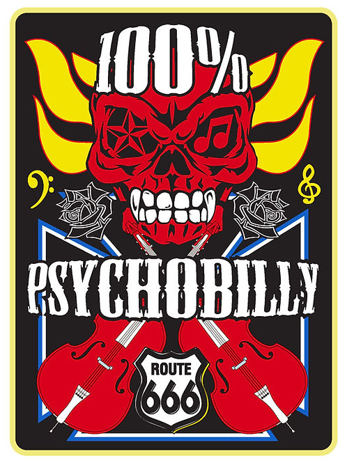 129 100% Psychobilly Window Sticker