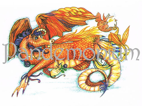 Aries Zodiac Dragon Card