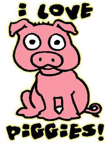 MA31 I Love Piggies Window Sticker