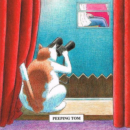 Devil Cat Greeting Card......Peeping Tom