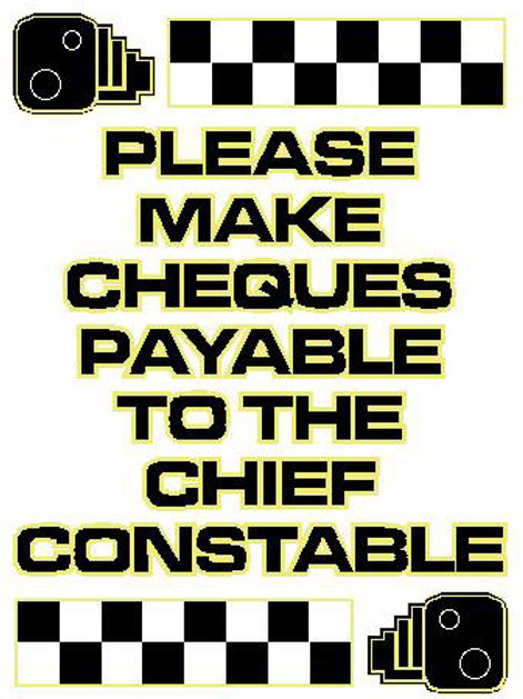 USR25 Please Make Cheques Payable To The Chief Constable Window Sticker