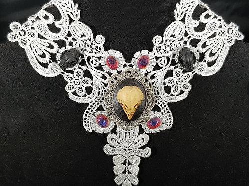 Owl Skull Cameo Necklace