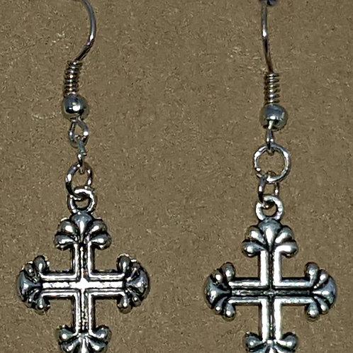 Square Cross Drop Earrings