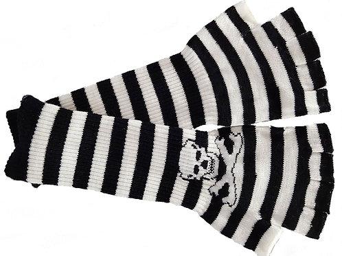 Stripe Long Skull Gloves Black And White