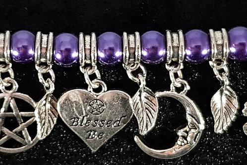 Blessed Be Purple Bead Charm Bracelet