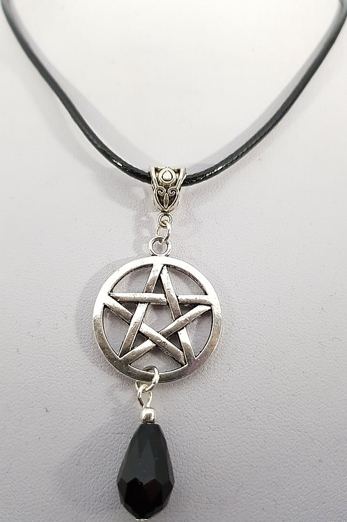 Pentacle Cord Necklace With Black Bead