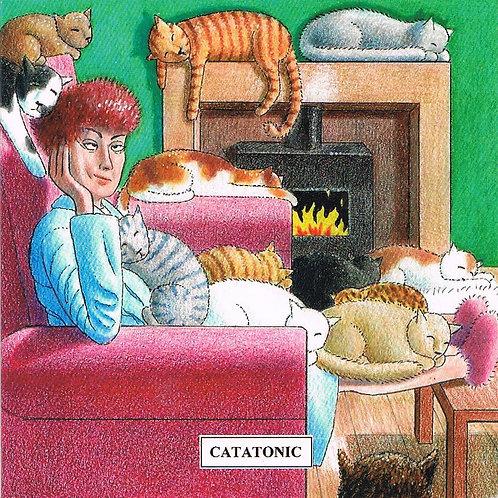 Devil Cat Greeting Card......Catatonic