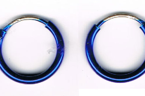 Blue Hoop Earrings (pair)