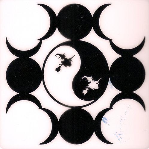 PWD41  Triple Goddess Yin Yang Window Sticker