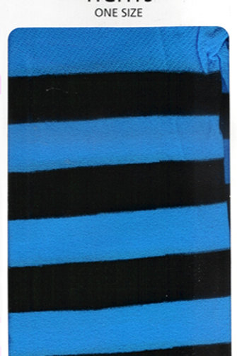 Striped Tights Black & Flo Turquoise