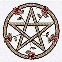 PWD32 Pentacle And Roses Window Sticker