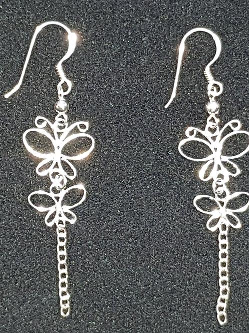 2 Butterfly Drop Earrings