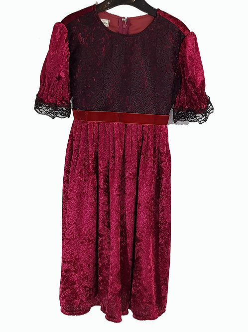 Childs Dress Red Velvet And Lace