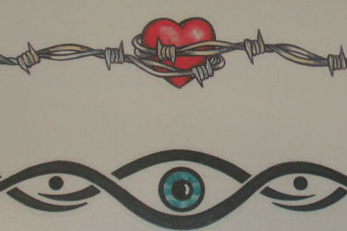 Barbed Wire Heart,Eye Armband Tattoo