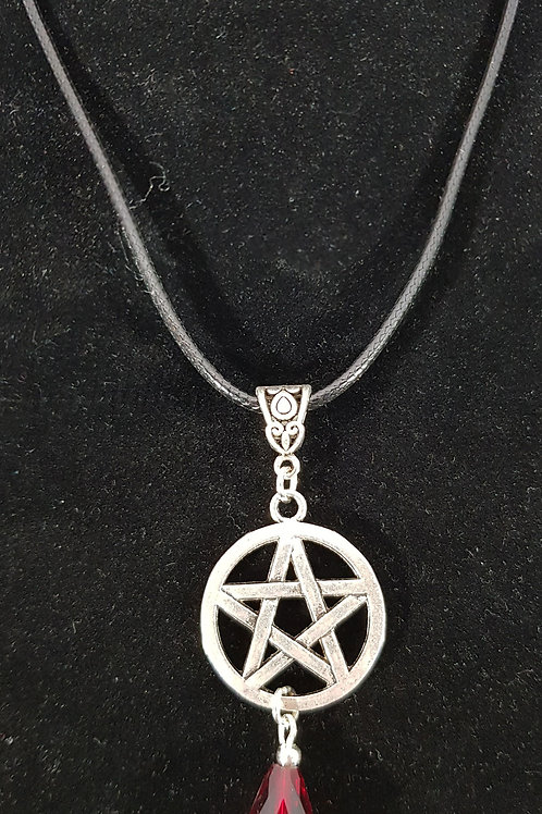 Pentacle Cord Necklace With Red Bead